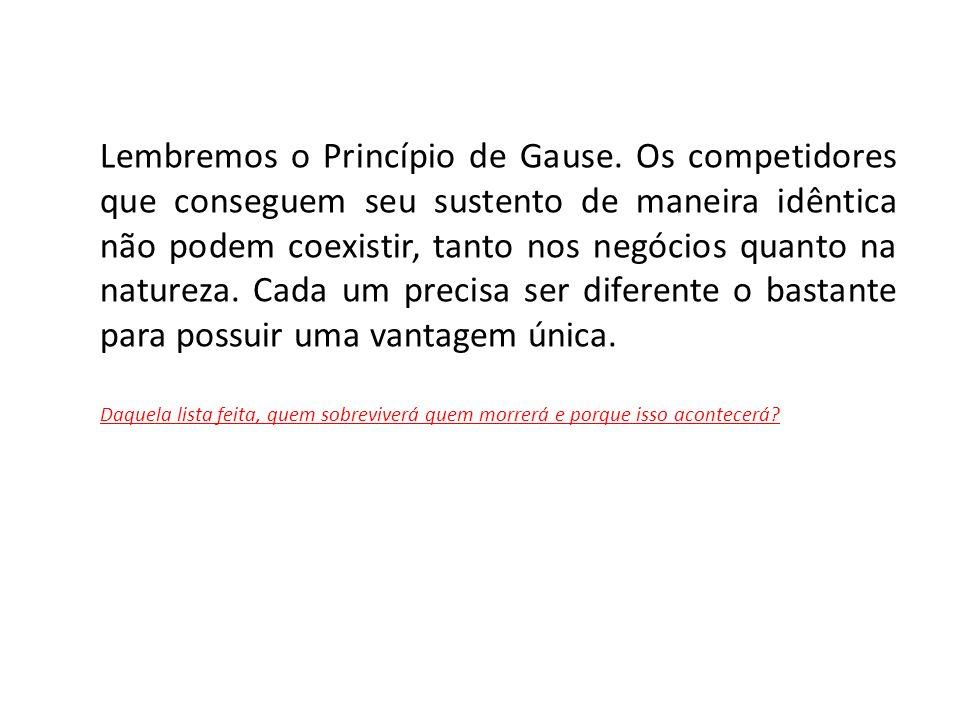 Lembremos o Princípio de Gause. Os competidores que conseguem seu sustento de maneira idêntica não podem coexistir, tanto nos negócios quanto na natur