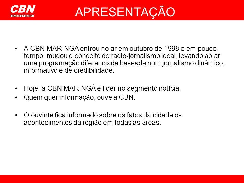 A CBN MARINGÁ entrou no ar em outubro de 1998 e em pouco tempo mudou o conceito de radio-jornalismo local, levando ao ar uma programação diferenciada