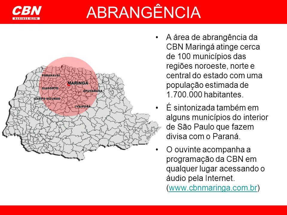 ABRANGÊNCIA A área de abrangência da CBN Maringá atinge cerca de 100 municípios das regiões noroeste, norte e central do estado com uma população esti