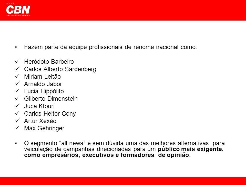 Fazem parte da equipe profissionais de renome nacional como: Heródoto Barbeiro Carlos Alberto Sardenberg Miriam Leitão Arnaldo Jabor Lucia Hippólito G