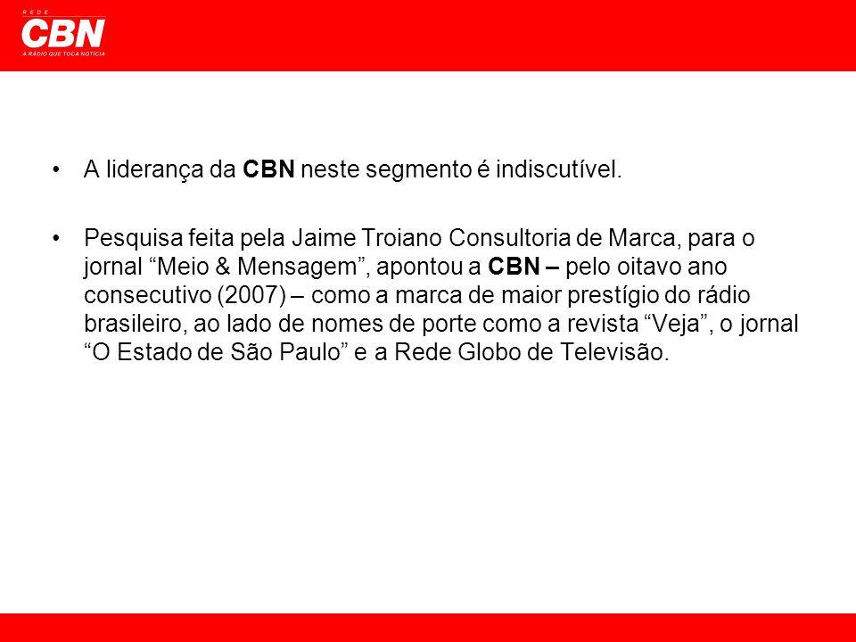 A liderança da CBN neste segmento é indiscutível. Pesquisa feita pela Jaime Troiano Consultoria de Marca, para o jornal Meio & Mensagem, apontou a CBN