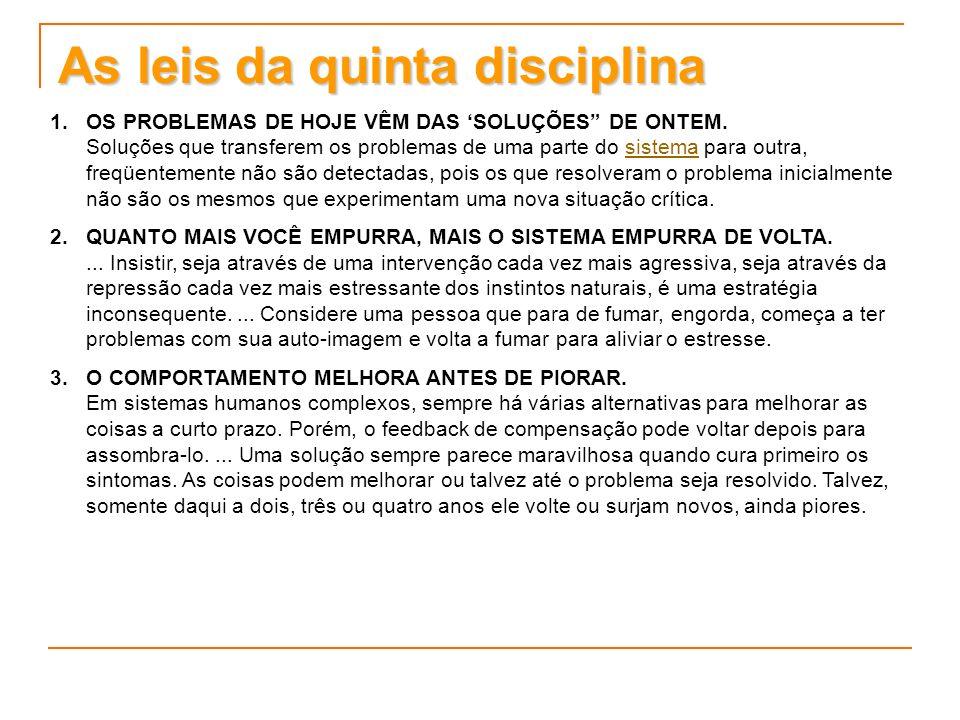 As leis da quinta disciplina 1. 1.OS PROBLEMAS DE HOJE VÊM DAS SOLUÇÕES DE ONTEM. Soluções que transferem os problemas de uma parte do sistema para ou