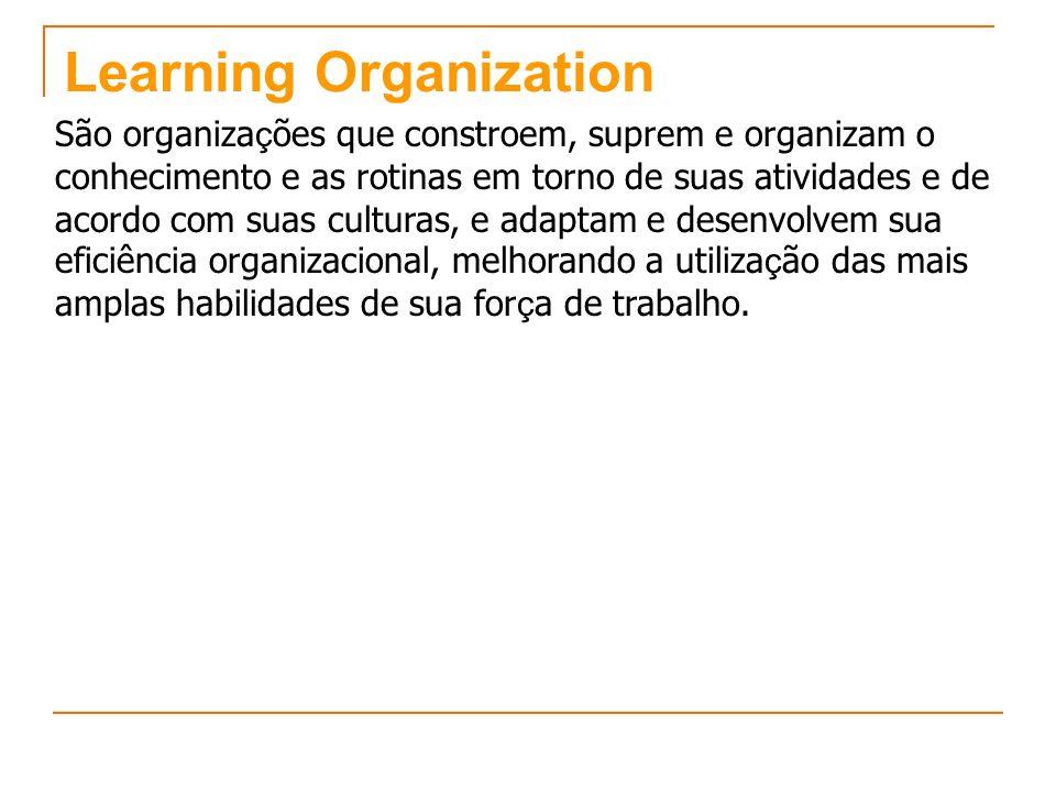 Learning Organization São organiza ç ões que constroem, suprem e organizam o conhecimento e as rotinas em torno de suas atividades e de acordo com sua