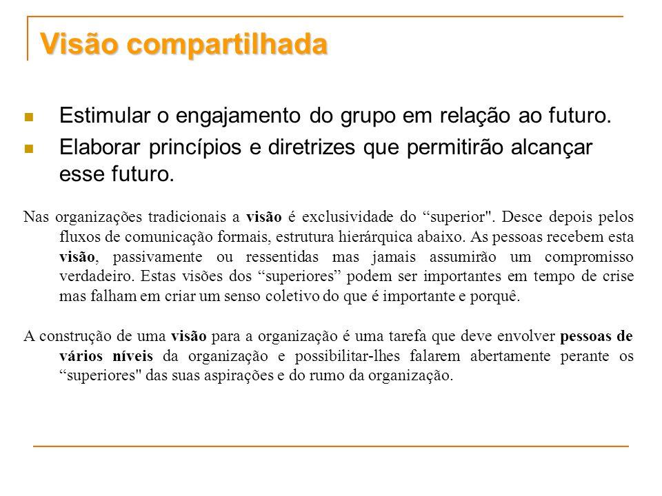 Visão compartilhada Estimular o engajamento do grupo em relação ao futuro. Elaborar princípios e diretrizes que permitirão alcançar esse futuro. Nas o