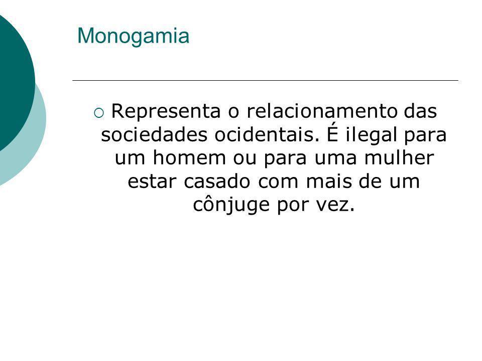 Monogamia Representa o relacionamento das sociedades ocidentais. É ilegal para um homem ou para uma mulher estar casado com mais de um cônjuge por vez