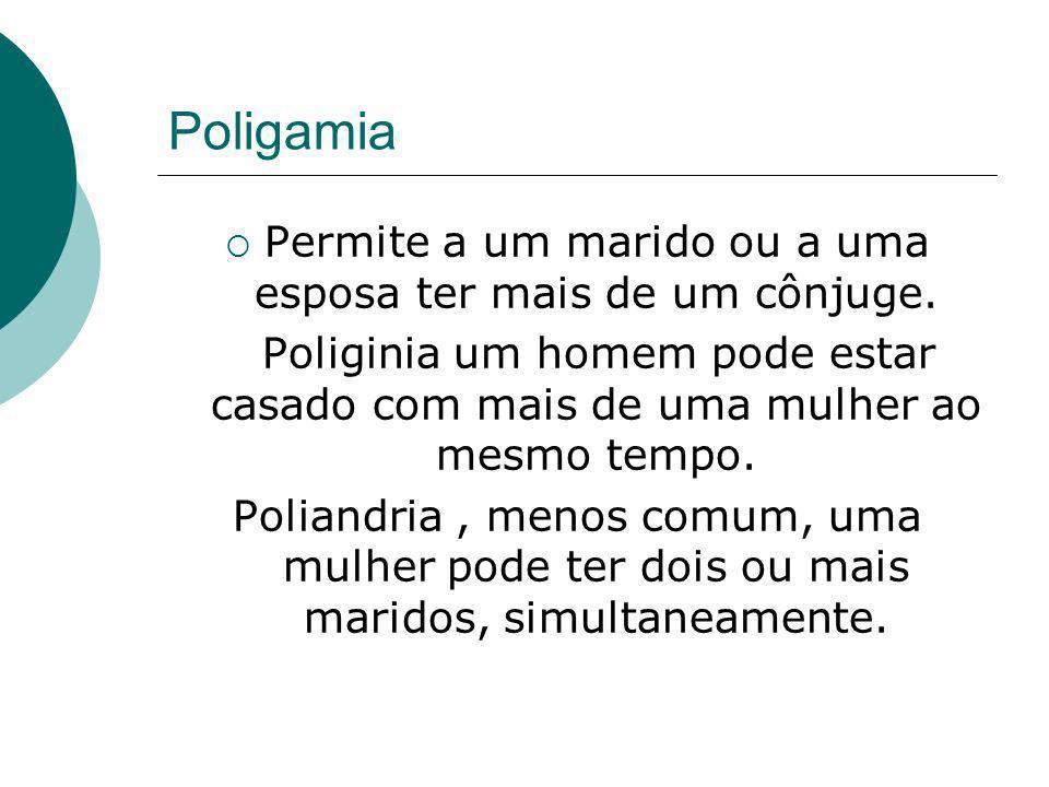 Poligamia Permite a um marido ou a uma esposa ter mais de um cônjuge. Poliginia um homem pode estar casado com mais de uma mulher ao mesmo tempo. Poli