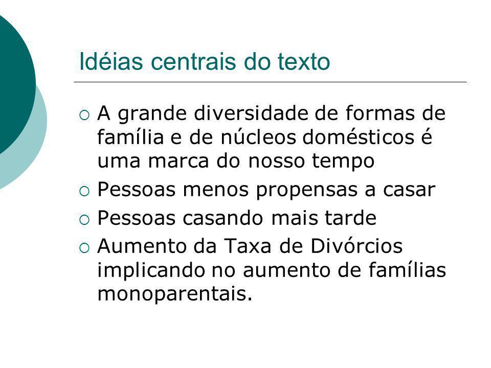 Famílias reconstituídas, formadas a partir de um segundo casamento ou então de novos relacionamentos envolvendo filhos de uniões anteriores.