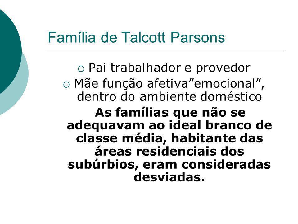 Família de Talcott Parsons Pai trabalhador e provedor Mãe função afetivaemocional, dentro do ambiente doméstico As famílias que não se adequavam ao id