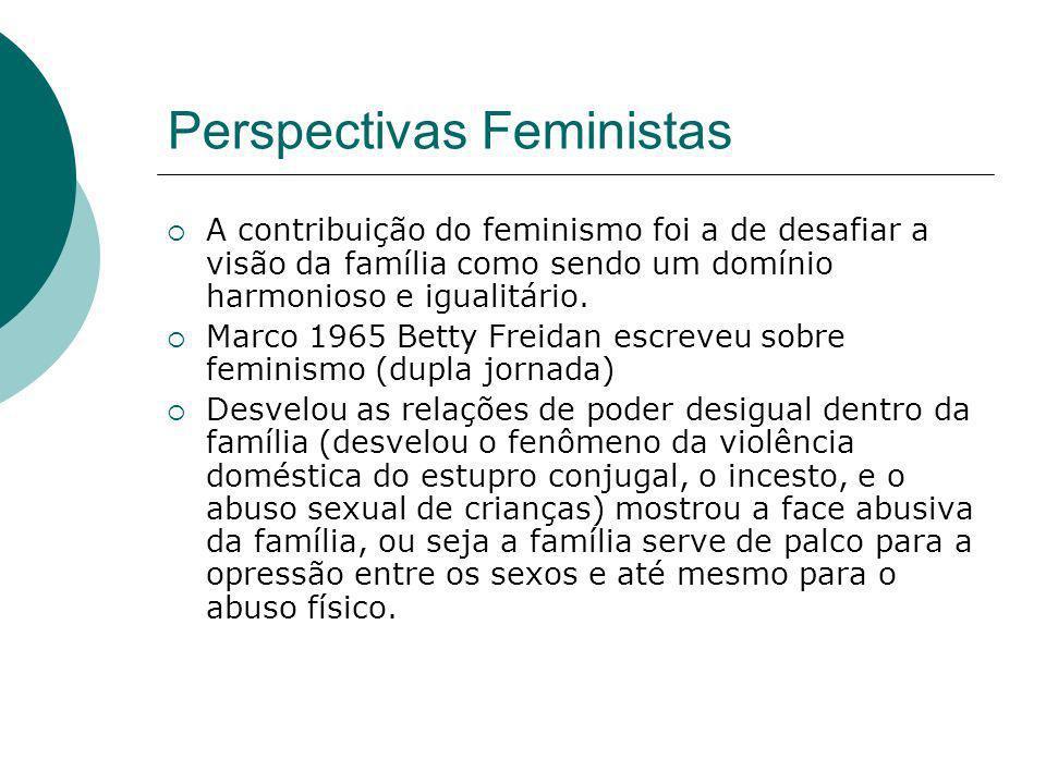 Perspectivas Feministas A contribuição do feminismo foi a de desafiar a visão da família como sendo um domínio harmonioso e igualitário. Marco 1965 Be