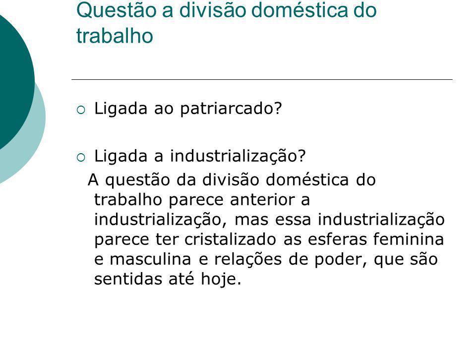 Questão a divisão doméstica do trabalho Ligada ao patriarcado? Ligada a industrialização? A questão da divisão doméstica do trabalho parece anterior a
