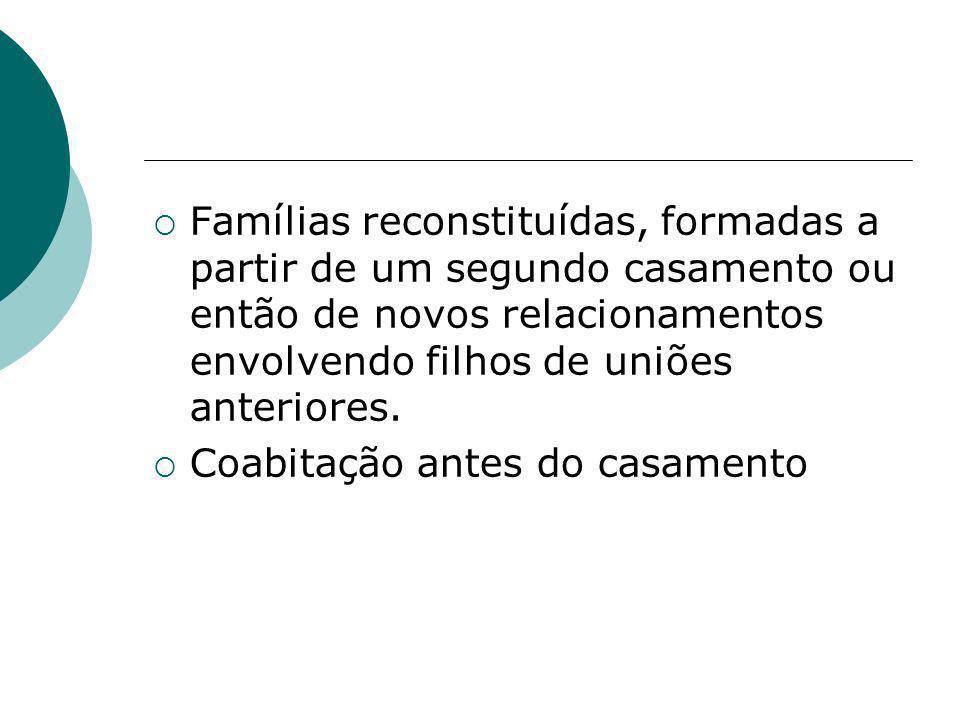 Famílias reconstituídas, formadas a partir de um segundo casamento ou então de novos relacionamentos envolvendo filhos de uniões anteriores. Coabitaçã