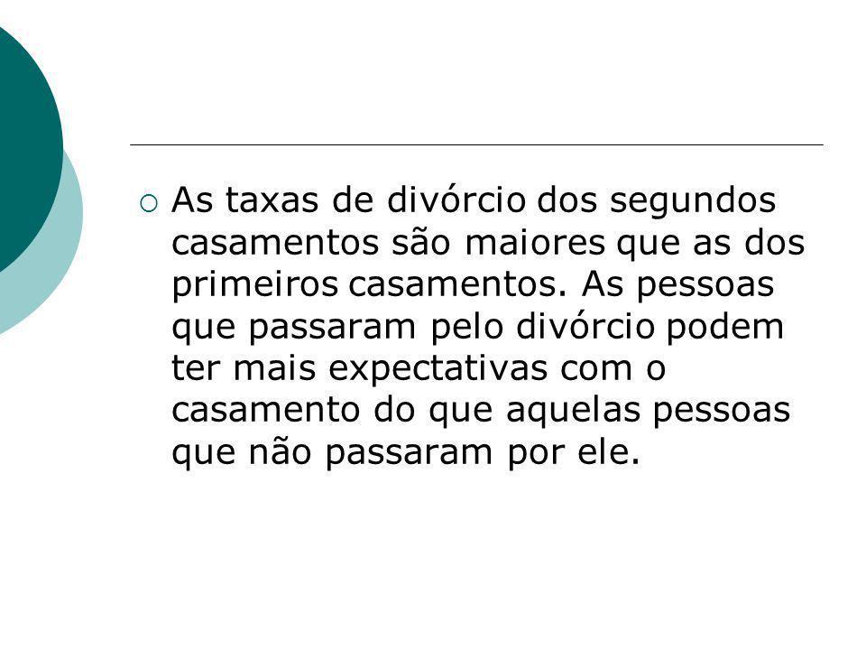 As taxas de divórcio dos segundos casamentos são maiores que as dos primeiros casamentos. As pessoas que passaram pelo divórcio podem ter mais expecta