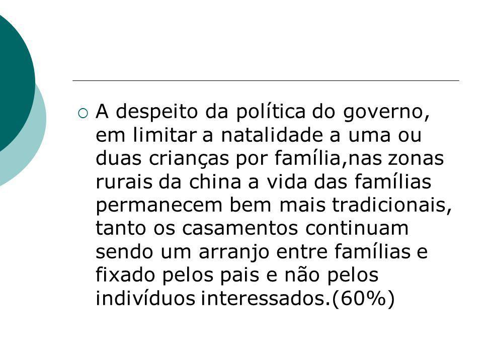 A despeito da política do governo, em limitar a natalidade a uma ou duas crianças por família,nas zonas rurais da china a vida das famílias permanecem