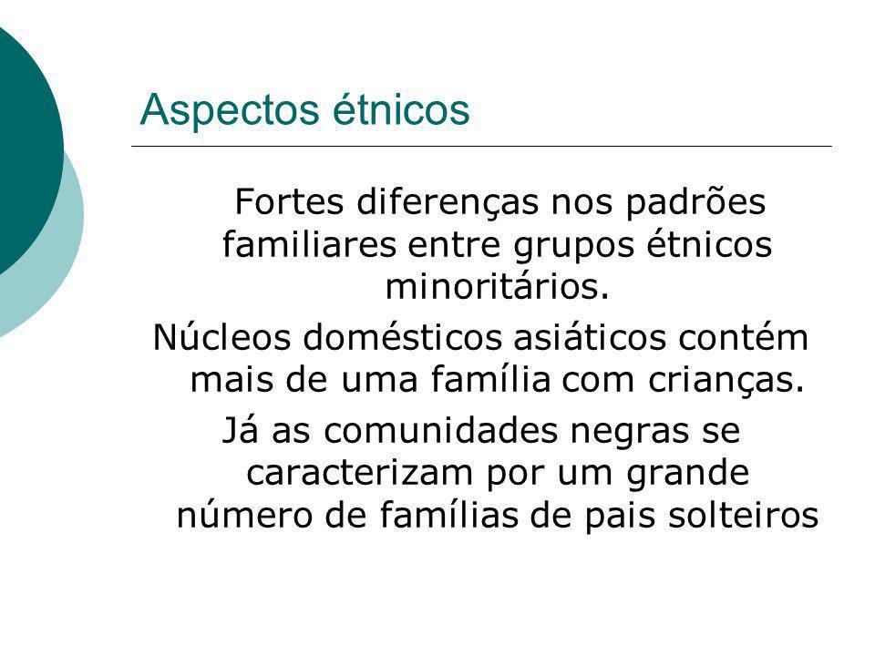 Aspectos étnicos Fortes diferenças nos padrões familiares entre grupos étnicos minoritários. Núcleos domésticos asiáticos contém mais de uma família c
