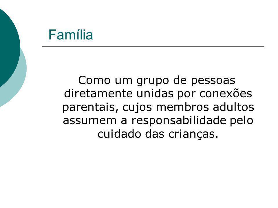 Família Como um grupo de pessoas diretamente unidas por conexões parentais, cujos membros adultos assumem a responsabilidade pelo cuidado das crianças
