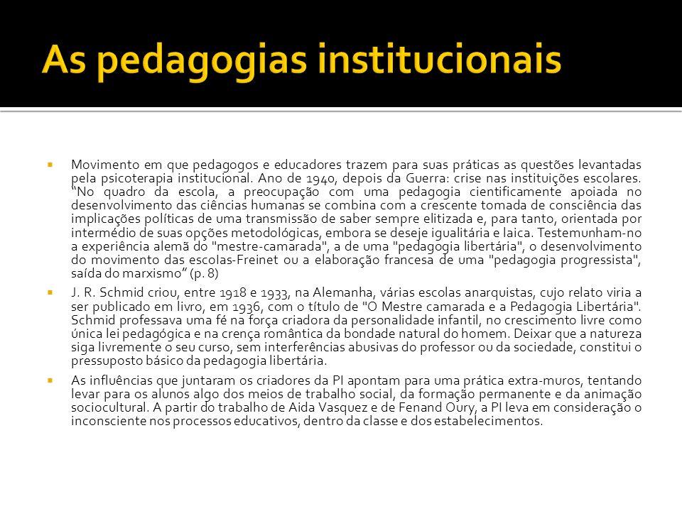 Movimento em que pedagogos e educadores trazem para suas práticas as questões levantadas pela psicoterapia institucional. Ano de 1940, depois da Guerr