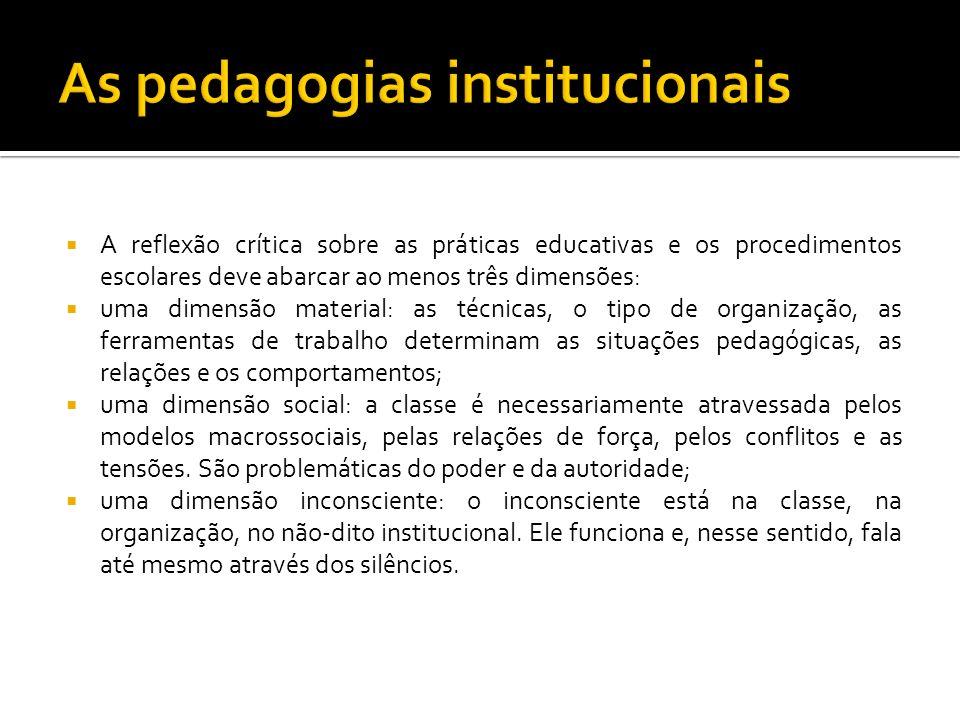 A reflexão crítica sobre as práticas educativas e os procedimentos escolares deve abarcar ao menos três dimensões: uma dimensão material: as técnicas,