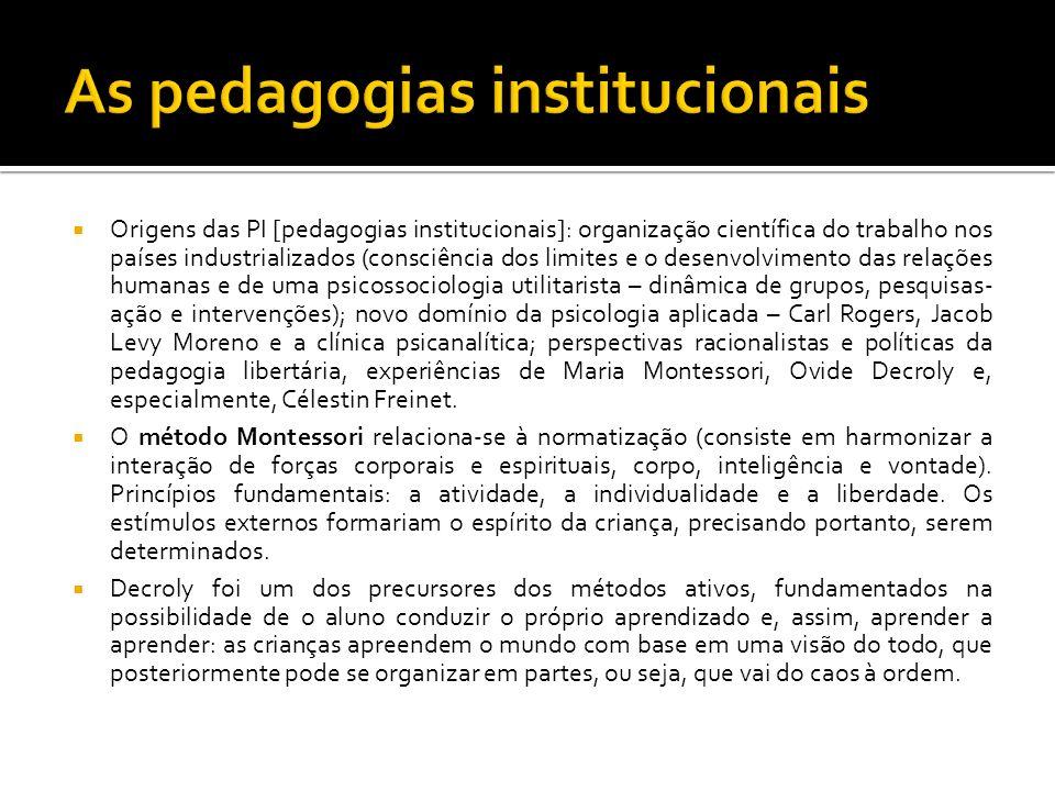 Origens das PI [pedagogias institucionais]: organização científica do trabalho nos países industrializados (consciência dos limites e o desenvolviment