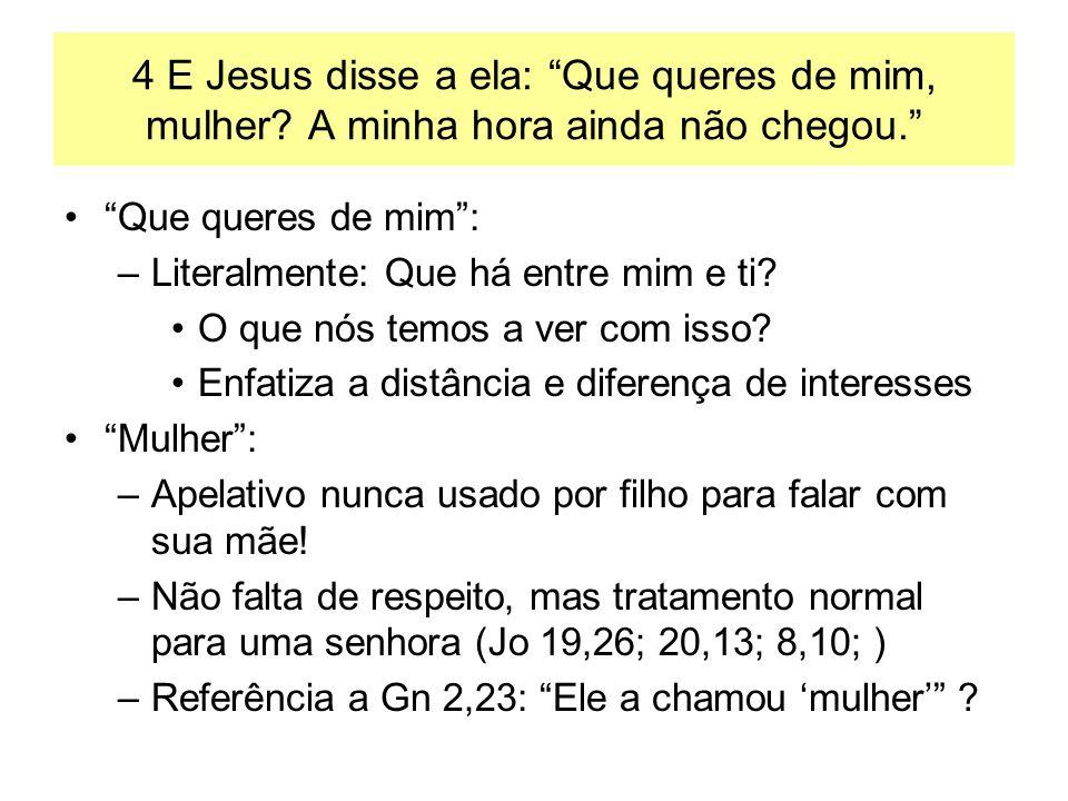 4 E Jesus disse a ela: Que queres de mim, mulher? A minha hora ainda não chegou. Que queres de mim: –Literalmente: Que há entre mim e ti? O que nós te