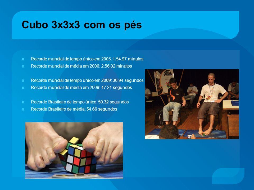 Cubo 3x3x3 com os pés Recorde mundial de tempo único em 2005: 1:54.97 minutos Recorde mundial de média em 2006: 2:56.02 minutos Recorde mundial de tem