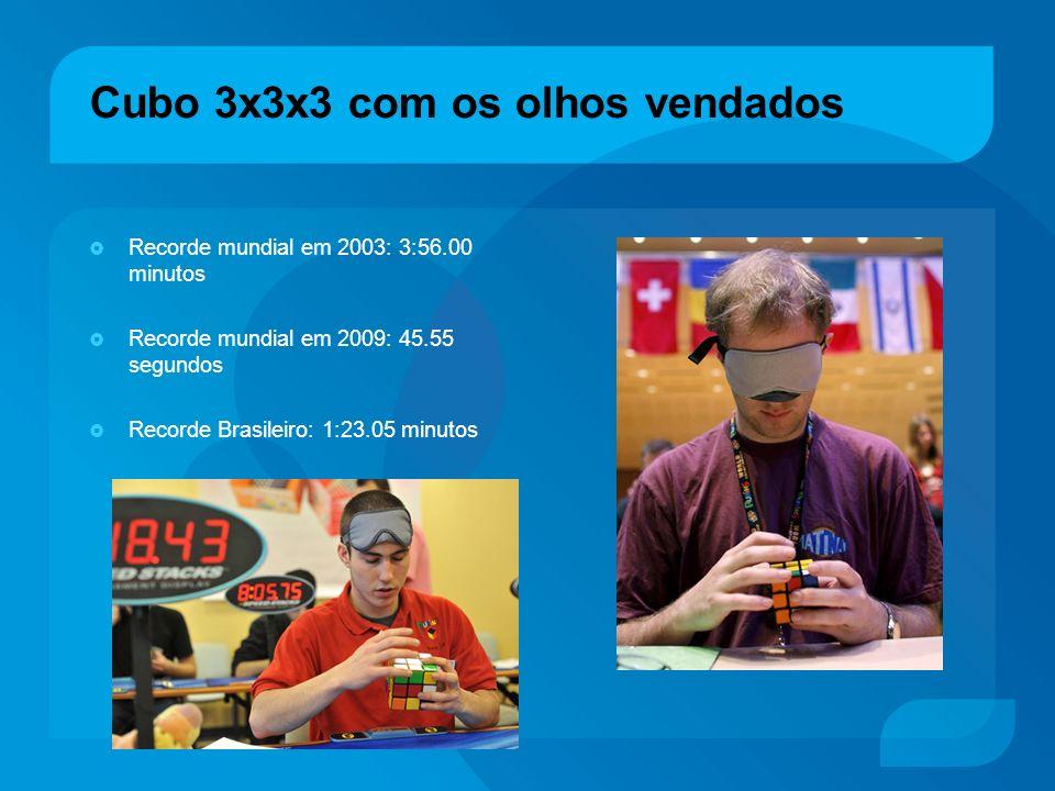 Cubo 3x3x3 com os olhos vendados Recorde mundial em 2003: 3:56.00 minutos Recorde mundial em 2009: 45.55 segundos Recorde Brasileiro: 1:23.05 minutos