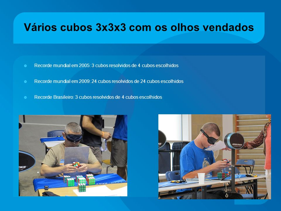 Vários cubos 3x3x3 com os olhos vendados Recorde mundial em 2005: 3 cubos resolvidos de 4 cubos escolhidos Recorde mundial em 2009: 24 cubos resolvido