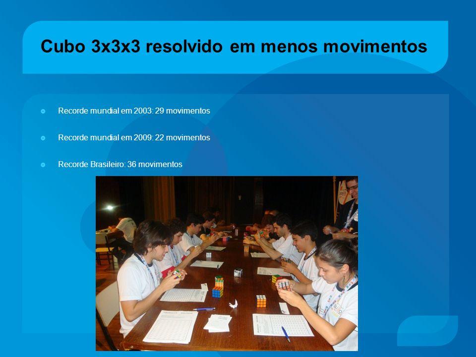 Cubo 3x3x3 resolvido em menos movimentos Recorde mundial em 2003: 29 movimentos Recorde mundial em 2009: 22 movimentos Recorde Brasileiro: 36 moviment