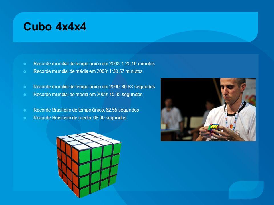 Cubo 4x4x4 Recorde mundial de tempo único em 2003: 1:20.16 minutos Recorde mundial de média em 2003: 1:30.57 minutos Recorde mundial de tempo único em