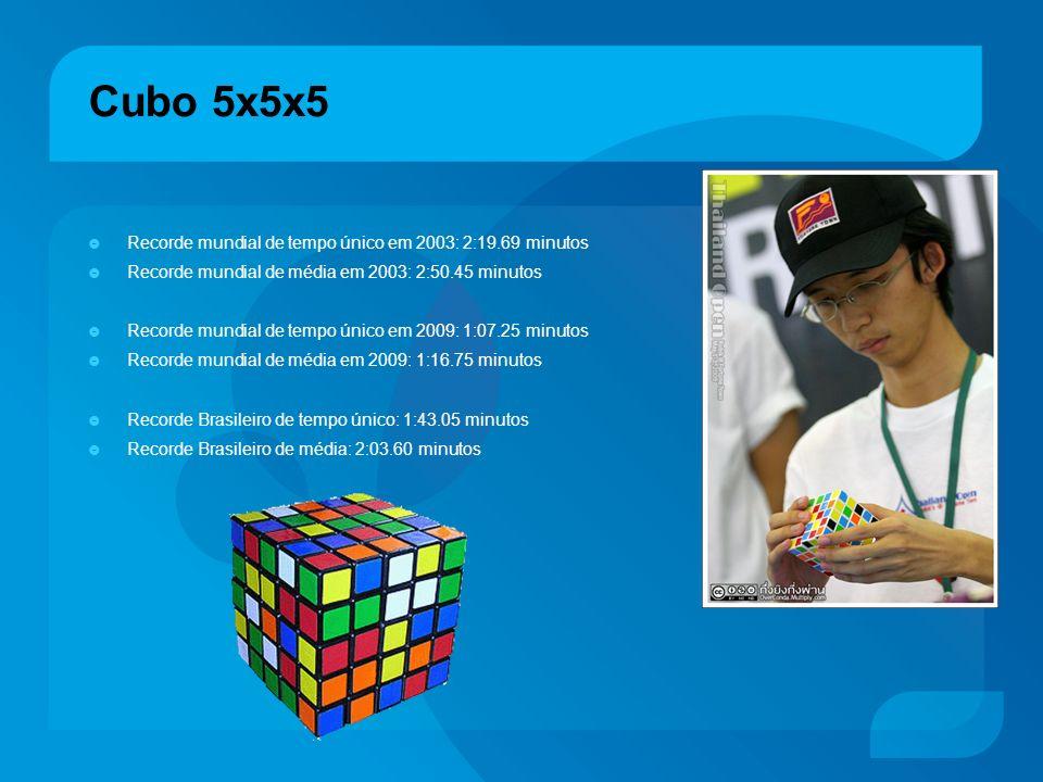 Cubo 5x5x5 Recorde mundial de tempo único em 2003: 2:19.69 minutos Recorde mundial de média em 2003: 2:50.45 minutos Recorde mundial de tempo único em