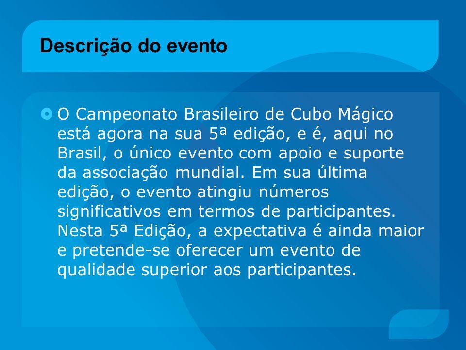 Descrição do evento O Campeonato Brasileiro de Cubo Mágico está agora na sua 5ª edição, e é, aqui no Brasil, o único evento com apoio e suporte da ass