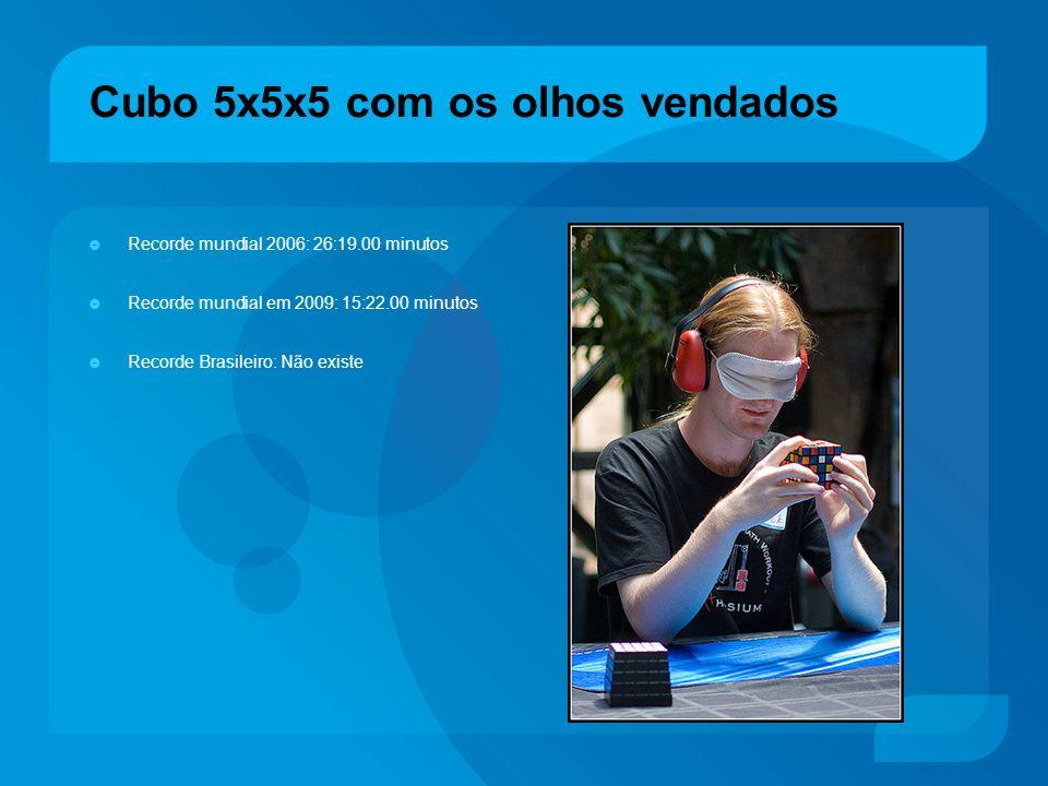 Cubo 5x5x5 com os olhos vendados Recorde mundial 2006: 26:19.00 minutos Recorde mundial em 2009: 15:22.00 minutos Recorde Brasileiro: Não existe