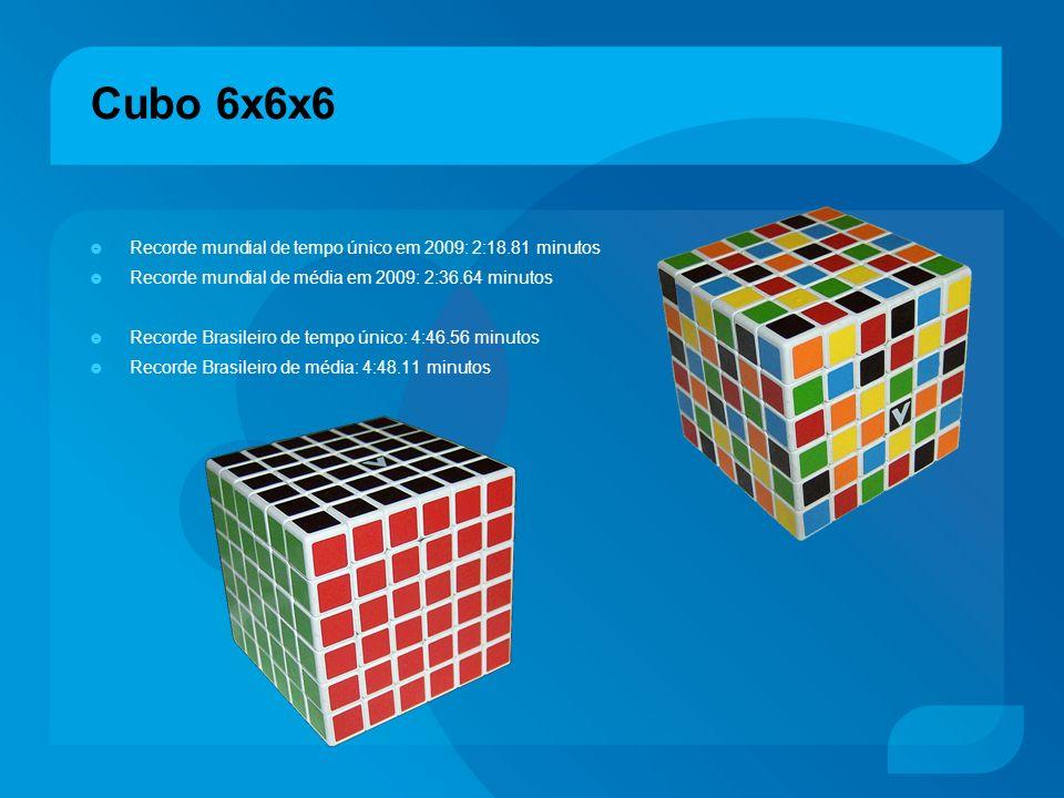 Cubo 6x6x6 Recorde mundial de tempo único em 2009: 2:18.81 minutos Recorde mundial de média em 2009: 2:36.64 minutos Recorde Brasileiro de tempo único