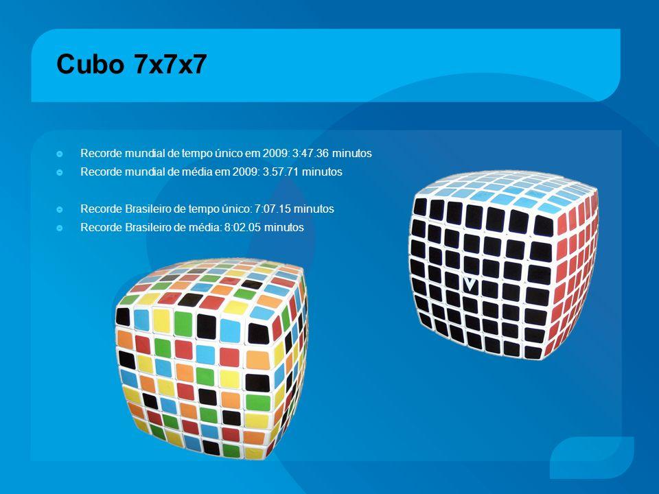 Cubo 7x7x7 Recorde mundial de tempo único em 2009: 3:47.36 minutos Recorde mundial de média em 2009: 3.57.71 minutos Recorde Brasileiro de tempo único