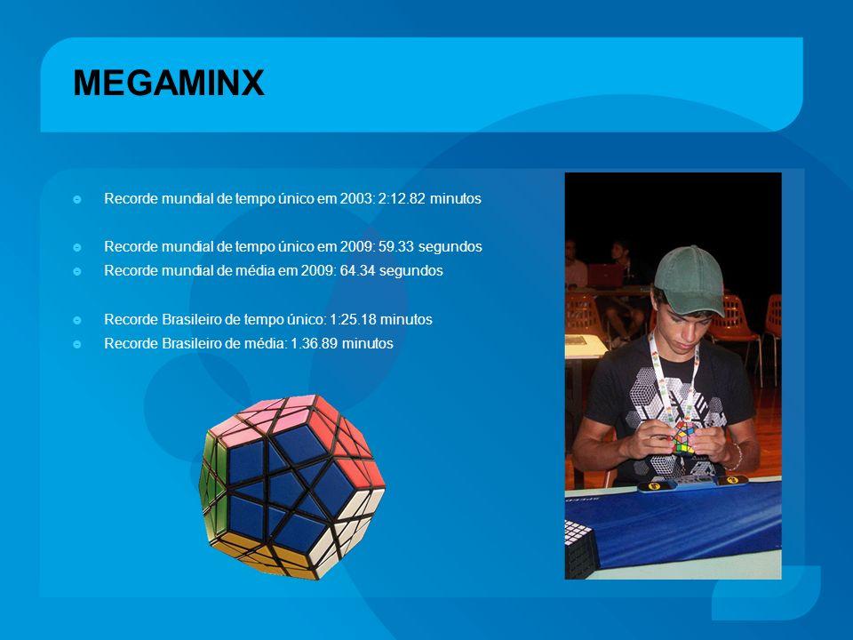 MEGAMINX Recorde mundial de tempo único em 2003: 2:12.82 minutos Recorde mundial de tempo único em 2009: 59.33 segundos Recorde mundial de média em 20