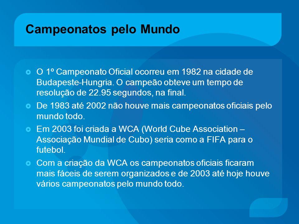 Campeonatos pelo Mundo O 1º Campeonato Oficial ocorreu em 1982 na cidade de Budapeste-Hungria. O campeão obteve um tempo de resolução de 22.95 segundo