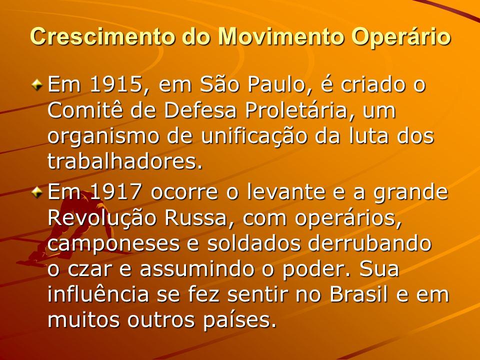 Crescimento do Movimento Operário Em 1915, em São Paulo, é criado o Comitê de Defesa Proletária, um organismo de unificação da luta dos trabalhadores.