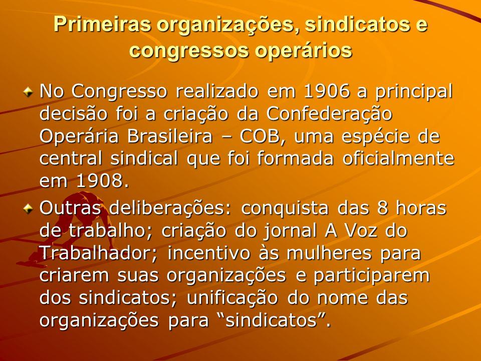 Primeiras organizações, sindicatos e congressos operários No Congresso realizado em 1906 a principal decisão foi a criação da Confederação Operária Br