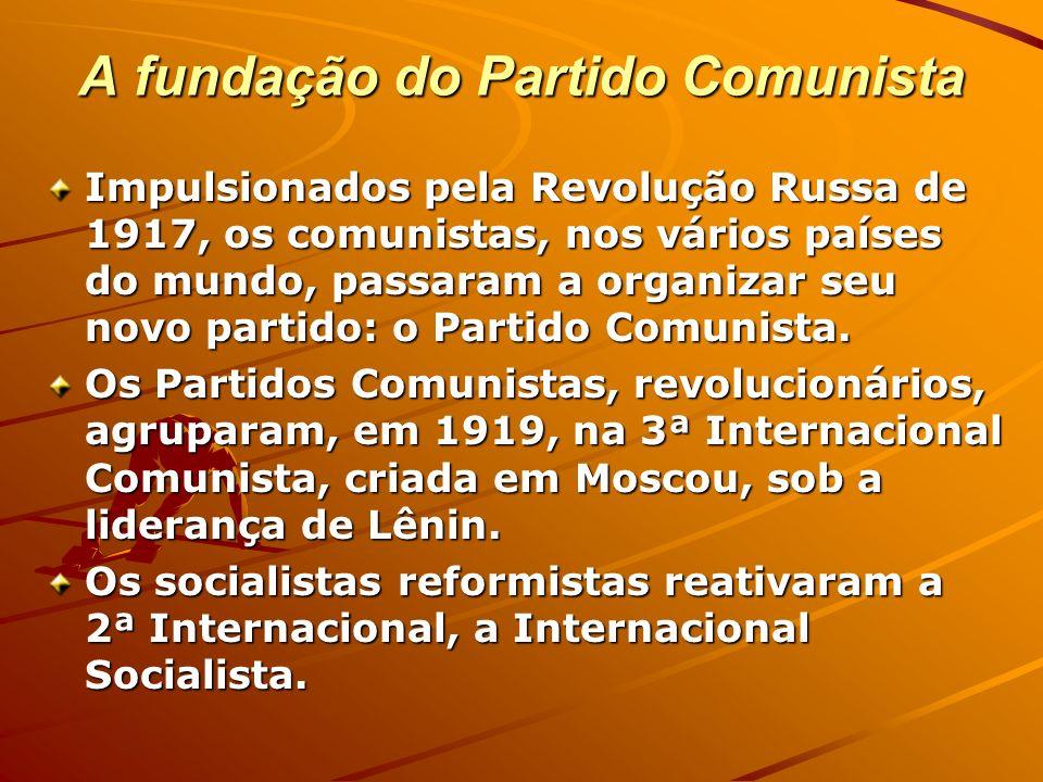A fundação do Partido Comunista Impulsionados pela Revolução Russa de 1917, os comunistas, nos vários países do mundo, passaram a organizar seu novo p
