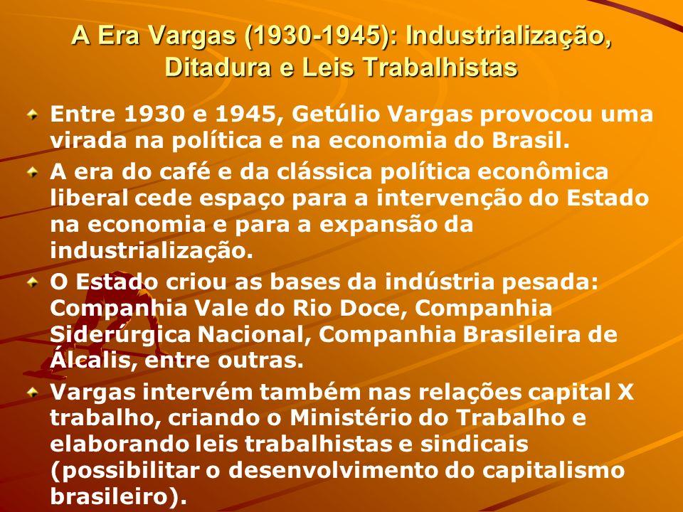 A Era Vargas (1930-1945): Industrialização, Ditadura e Leis Trabalhistas Entre 1930 e 1945, Getúlio Vargas provocou uma virada na política e na econom