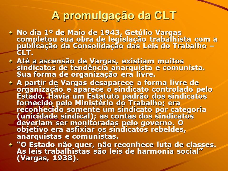 A promulgação da CLT No dia 1º de Maio de 1943, Getúlio Vargas completou sua obra de legislação trabalhista com a publicação da Consolidação das Leis