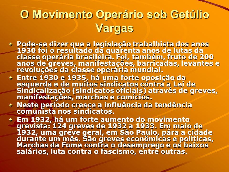 O Movimento Operário sob Getúlio Vargas Pode-se dizer que a legislação trabalhista dos anos 1930 foi o resultado da quarenta anos de lutas da classe o