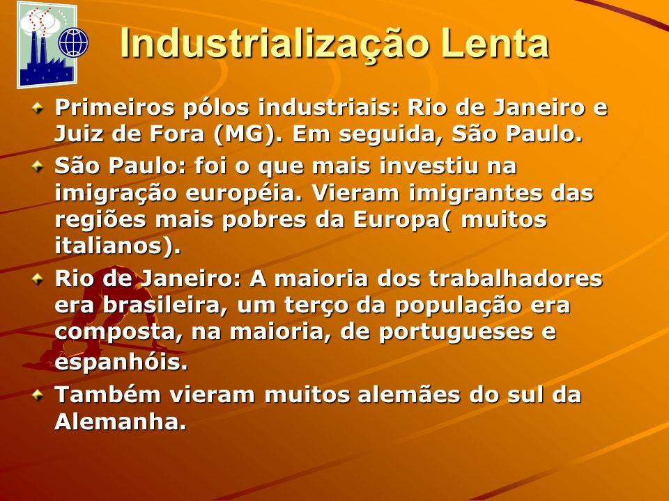 Industrialização Lenta Primeiros pólos industriais: Rio de Janeiro e Juiz de Fora (MG). Em seguida, São Paulo. São Paulo: foi o que mais investiu na i