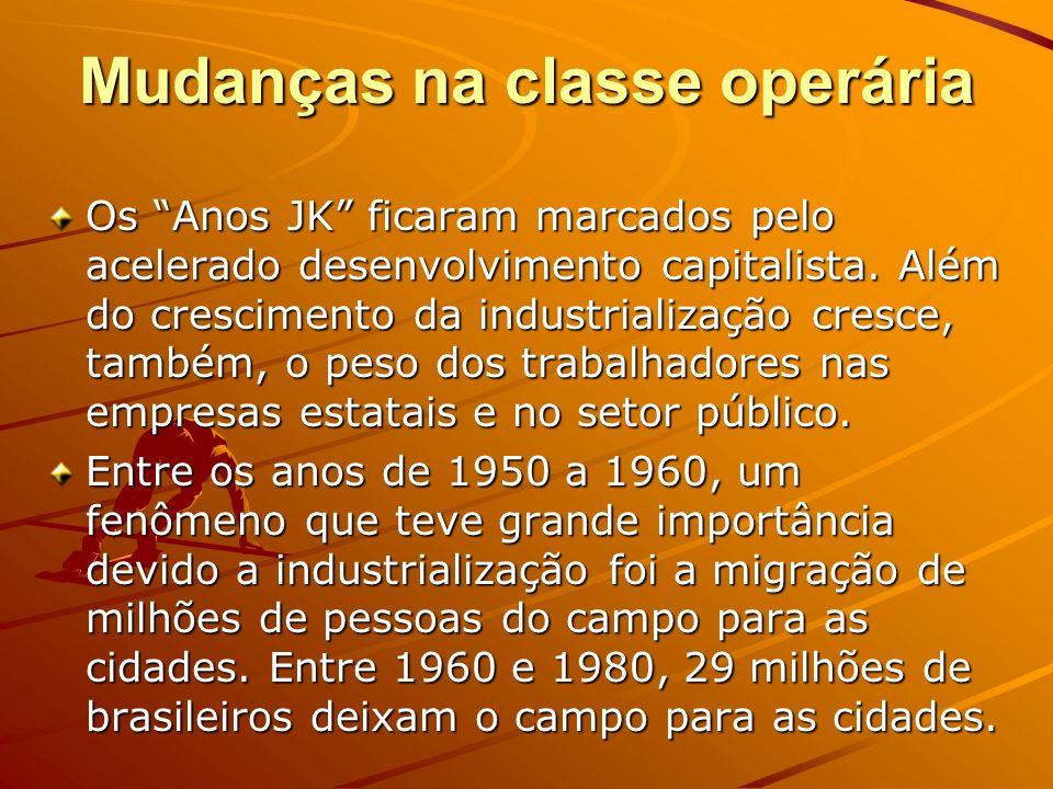 Mudanças na classe operária Os Anos JK ficaram marcados pelo acelerado desenvolvimento capitalista. Além do crescimento da industrialização cresce, ta