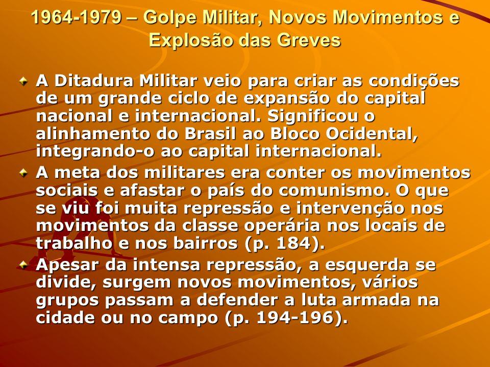 1964-1979 – Golpe Militar, Novos Movimentos e Explosão das Greves A Ditadura Militar veio para criar as condições de um grande ciclo de expansão do ca