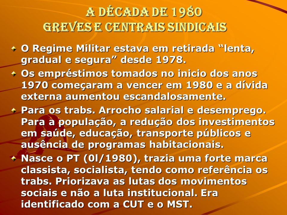A década de 1980 Greves e Centrais Sindicais O Regime Militar estava em retirada lenta, gradual e segura desde 1978. Os empréstimos tomados no inicio