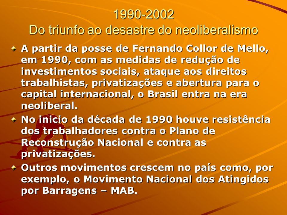1990-2002 Do triunfo ao desastre do neoliberalismo A partir da posse de Fernando Collor de Mello, em 1990, com as medidas de redução de investimentos