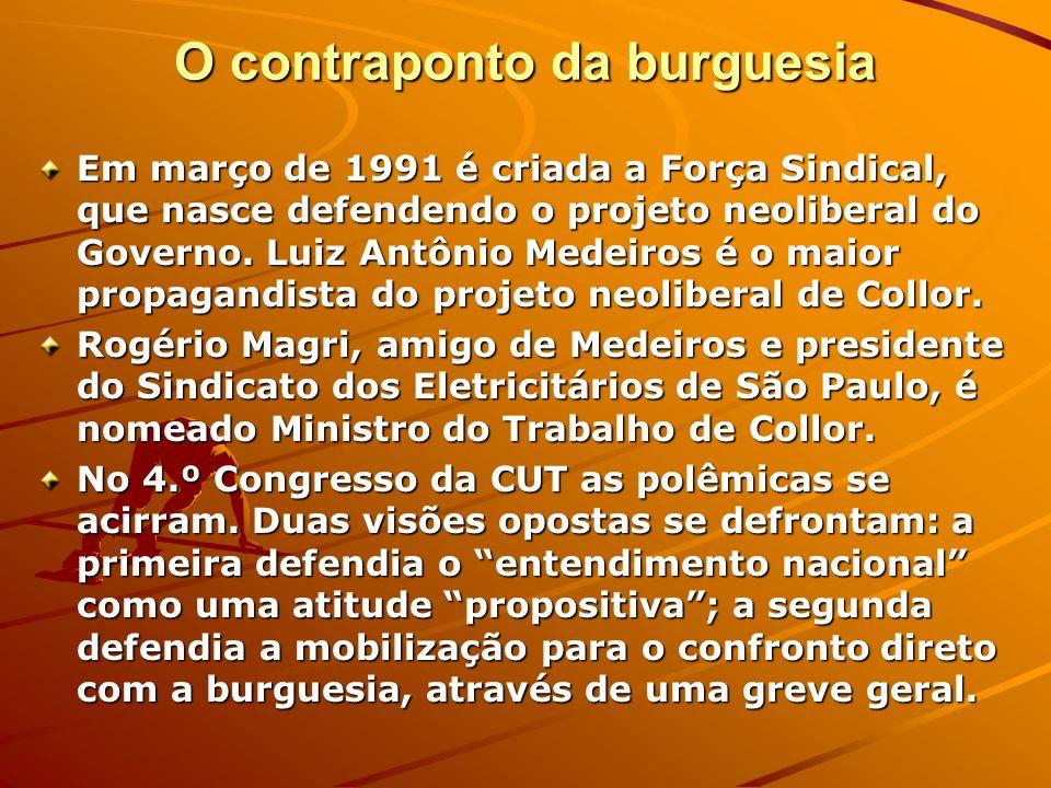 O contraponto da burguesia Em março de 1991 é criada a Força Sindical, que nasce defendendo o projeto neoliberal do Governo. Luiz Antônio Medeiros é o