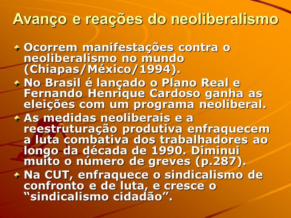 Avanço e reações do neoliberalismo Ocorrem manifestações contra o neoliberalismo no mundo (Chiapas/México/1994). No Brasil é lançado o Plano Real e Fe