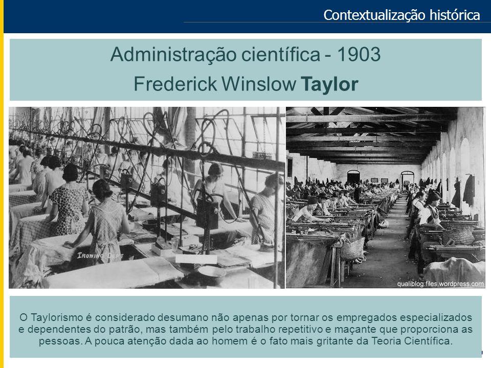 Contextualização histórica Administração científica - 1903 Frederick Winslow Taylor O Taylorismo é considerado desumano não apenas por tornar os empre