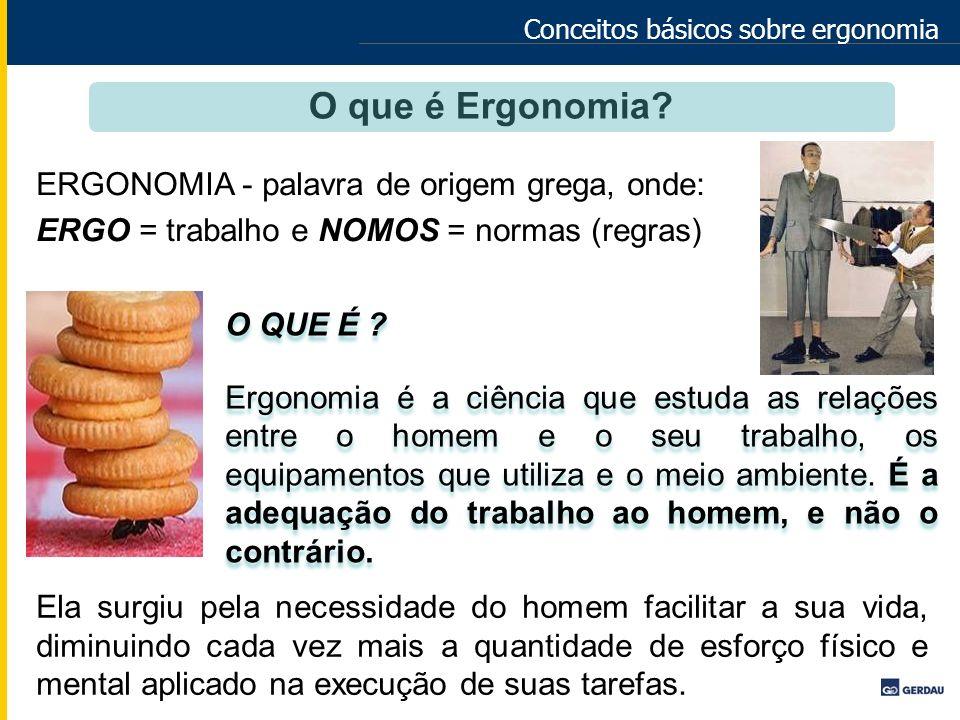 Conceitos básicos sobre ergonomia O QUE É ? Ergonomia é a ciência que estuda as relações entre o homem e o seu trabalho, os equipamentos que utiliza e
